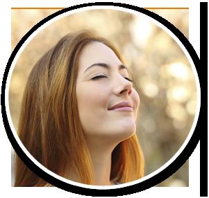 girl smiling upward