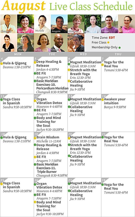 August Live Class Calendar