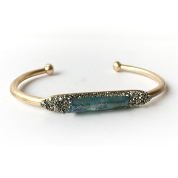 Aura Quartz Crystal & Pyrite Bracelet (Aqua)