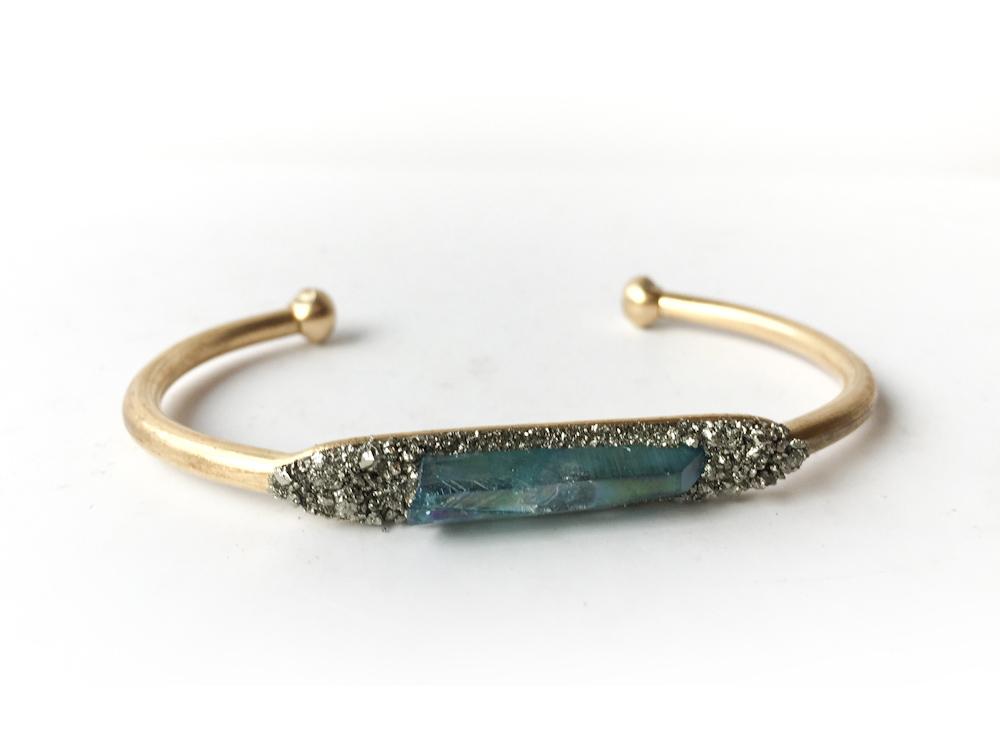 Aura Quartz Crystal Pyrite Bracelet Aqua