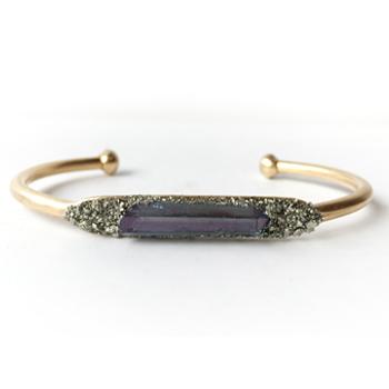 Aura Quartz Crystal & Pyrite Bracelet (Indigo)