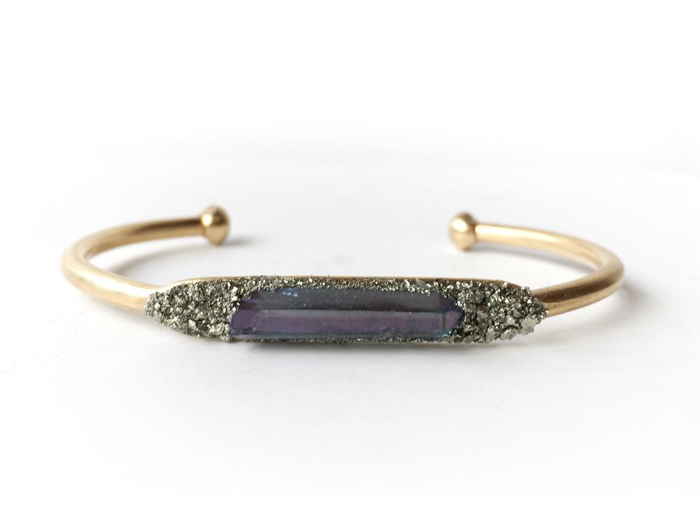 Aura Quartz Crystal Pyrite Bracelet Indigo