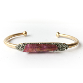 Aura Quartz Crystal & Pyrite Bracelet (Rose)