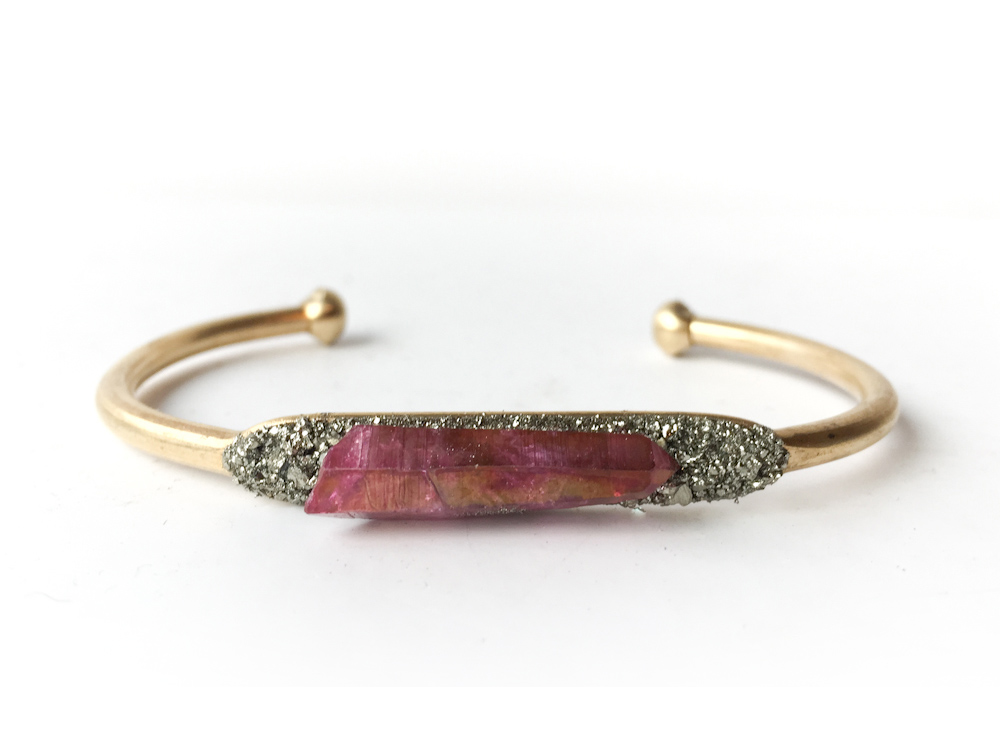 Aura Quartz Crystal Pyrite Bracelet Rose