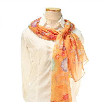 Pinwheel Chakras Silken Scarf (Orange)