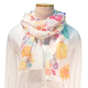 Pinwheel Chakras Scarf - 100% Silk (White)