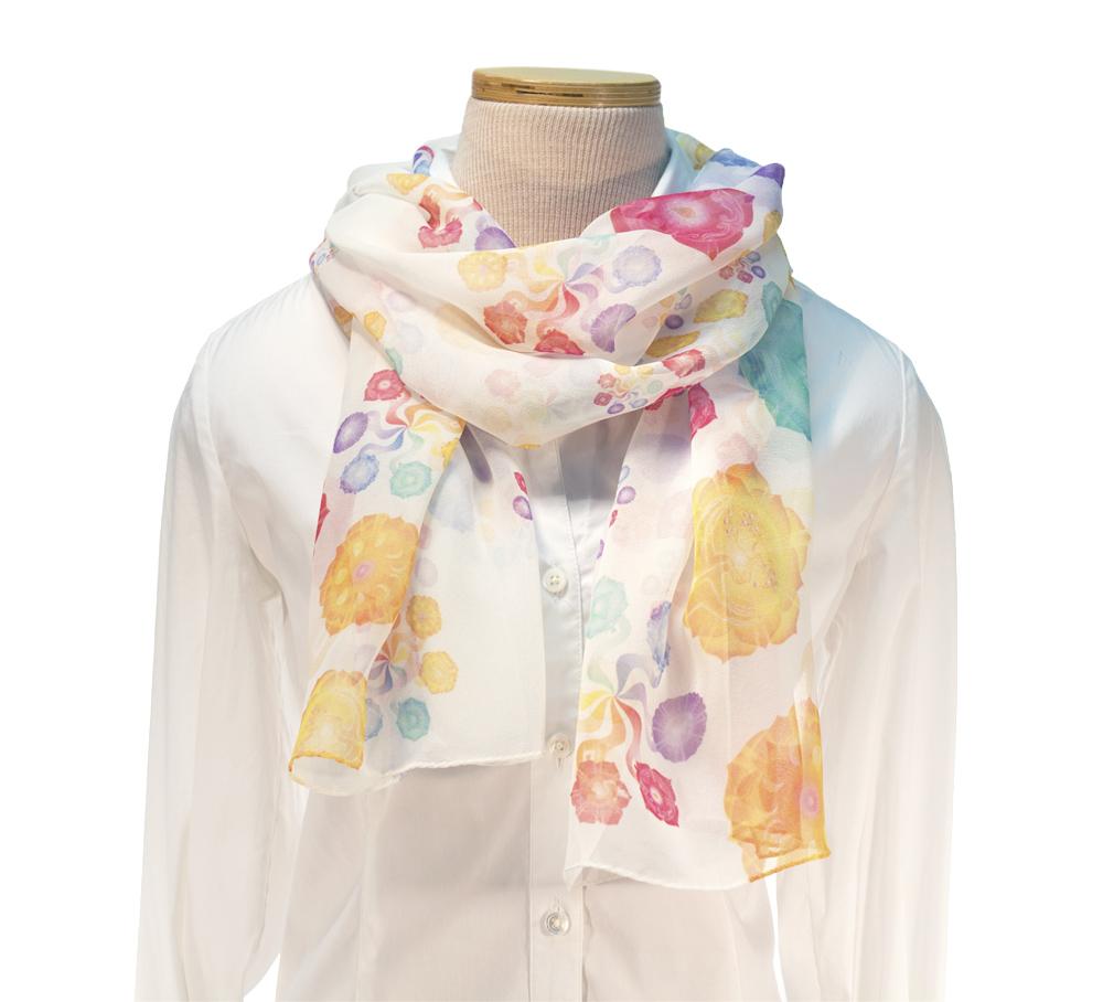 Pinwheel Chakras Scarf 100 Silk White