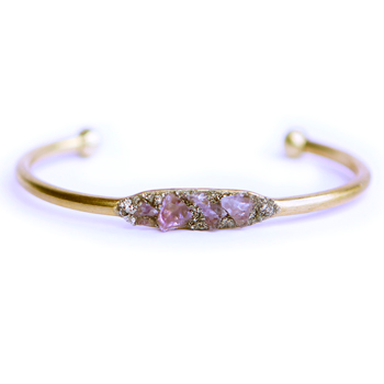 Raw Amethyst Crystal & Pyrite Bracelet (1