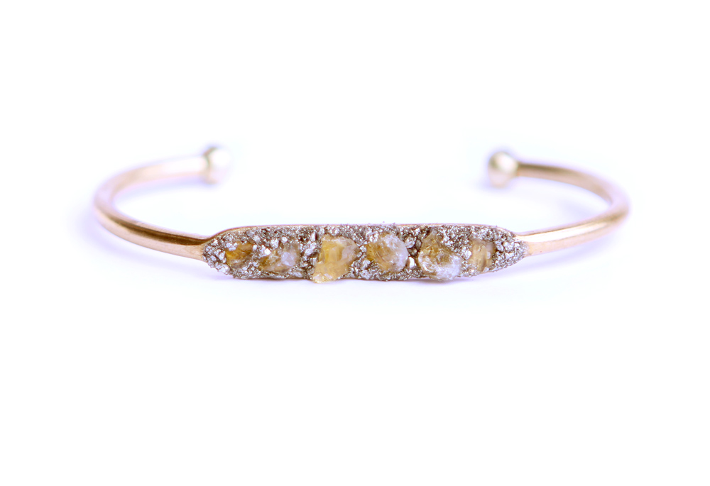 Raw Citrine Crystal Pyrite Bracelet 15 Inlay