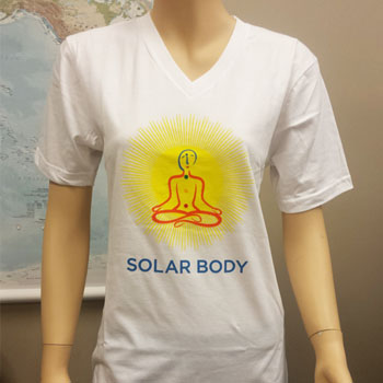 Solar Body T-Shirt, 100% Organic (White, V-neck)