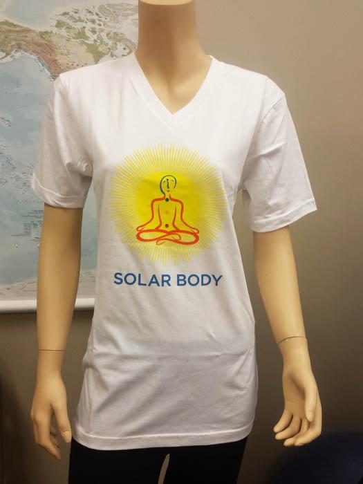 Solar Body TShirt 100 Organic White Vneck