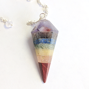 7-Chakra Natural Gemstone Hexagonal Pendulum