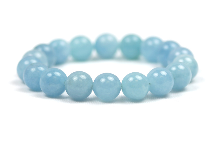 Aquamarine Bracelet 10mm Round Bead