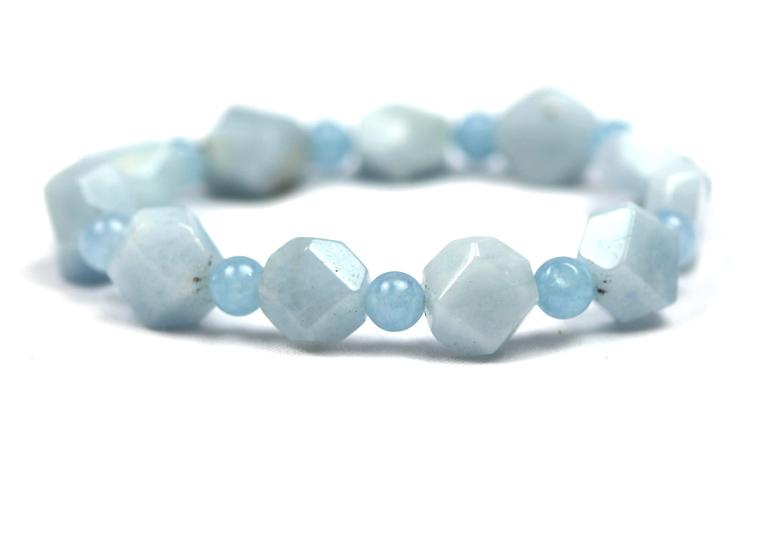 Aquamarine Bracelet Nugget Round Beads