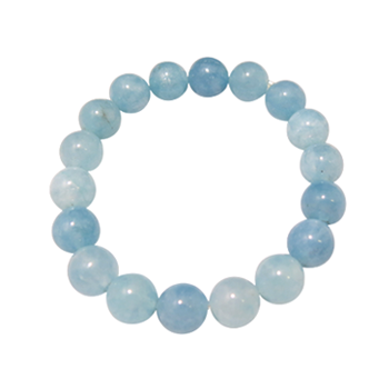 Aquamarine Bracelet - 12mm Round Bead