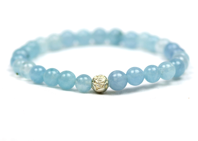 Aquamarine Bracelet with Charm 6mm Round Bead